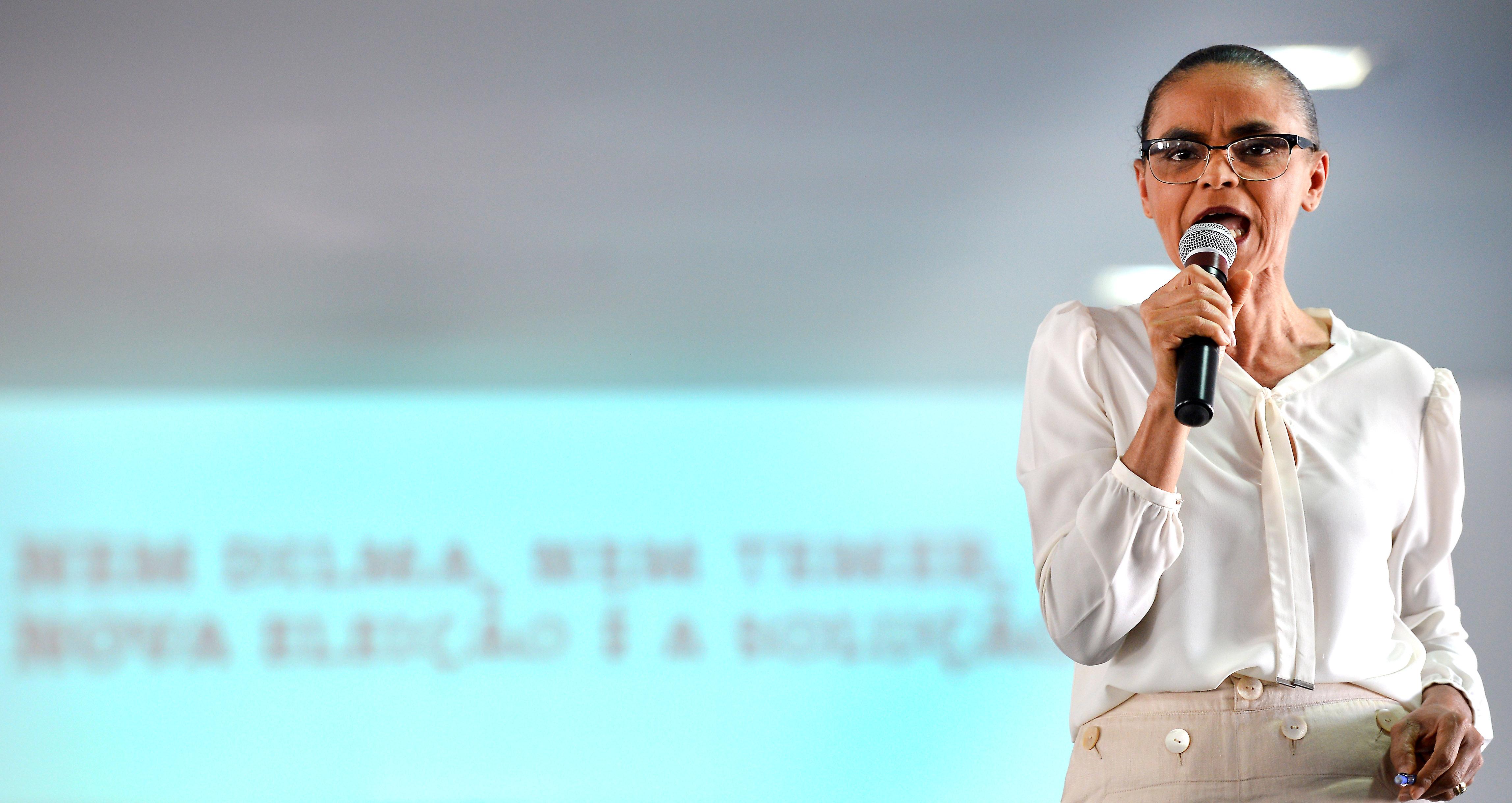Marina Silva durante evento em Brasília, em 2018.