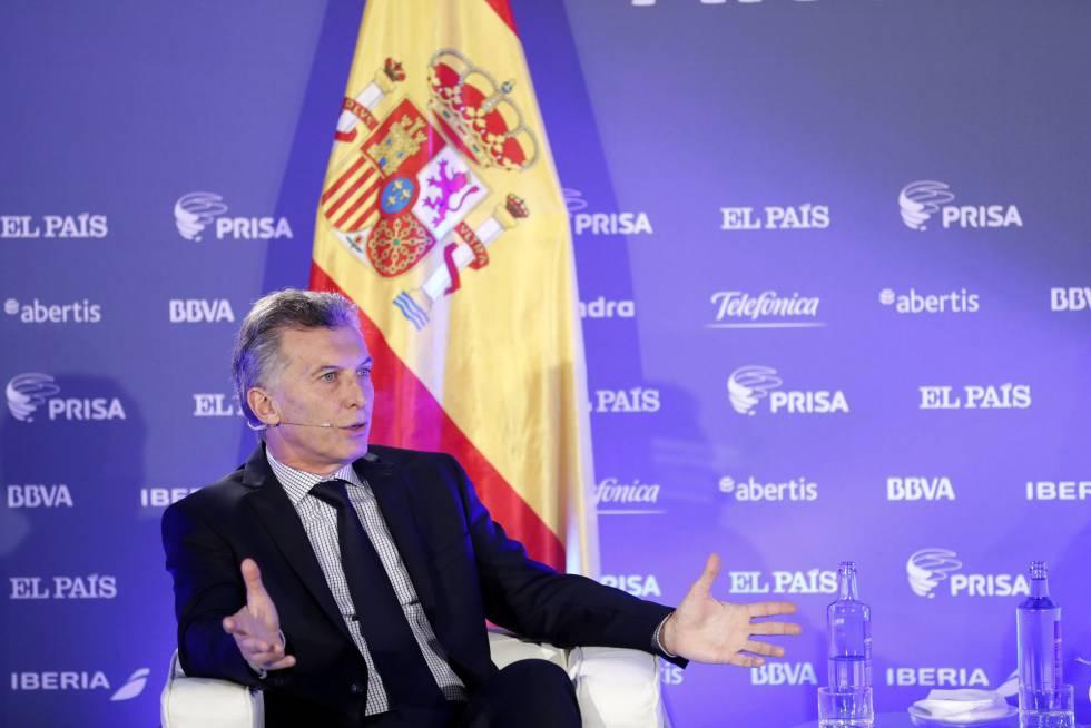 O presidente da Argentina, Mauricio Macri, no foro Investir na Argentina organizado pelo PAIS.