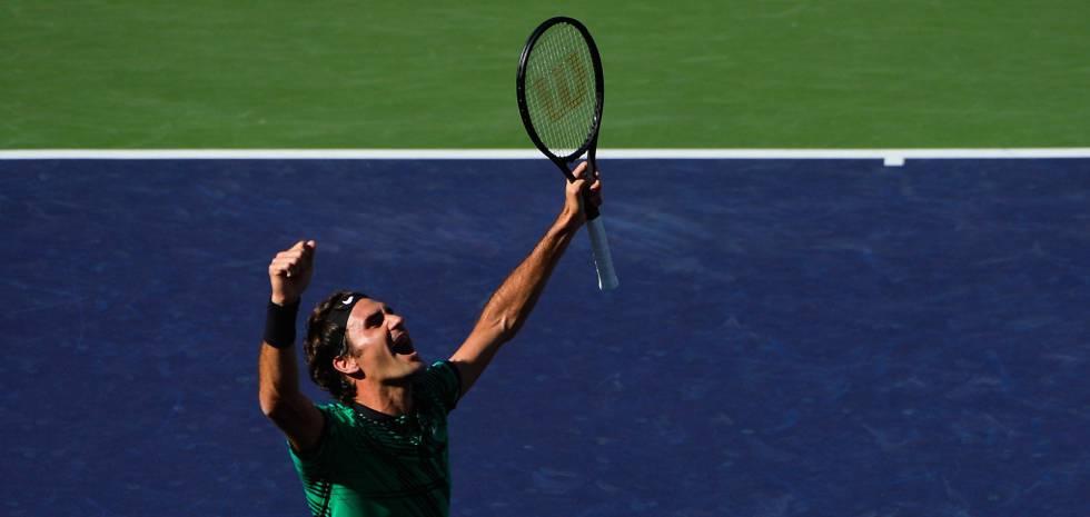 Federer celebra seu triunfo contra Wawrinka.