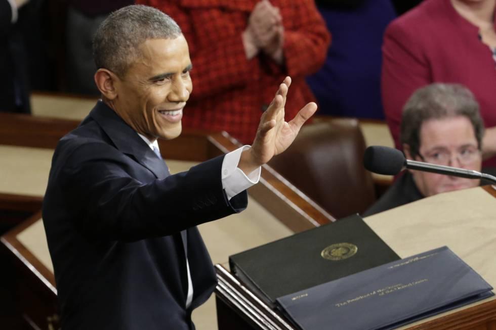 O presidente antes de fazer seu discurso sobre o Estado da União em janeiro de 2015.