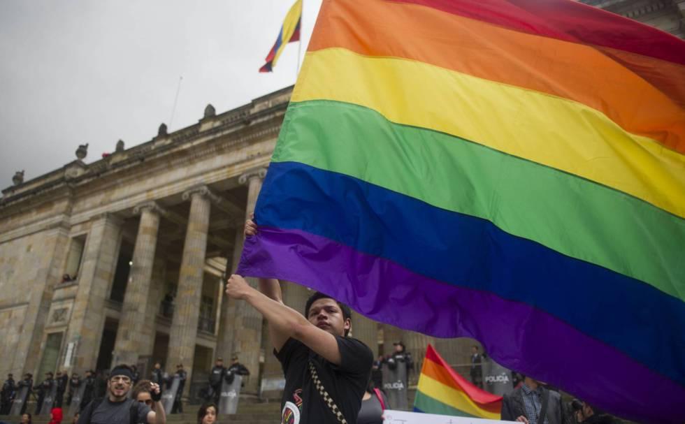 Uma manifestação da comunidade LGTBI em Bogotá, em 2013.