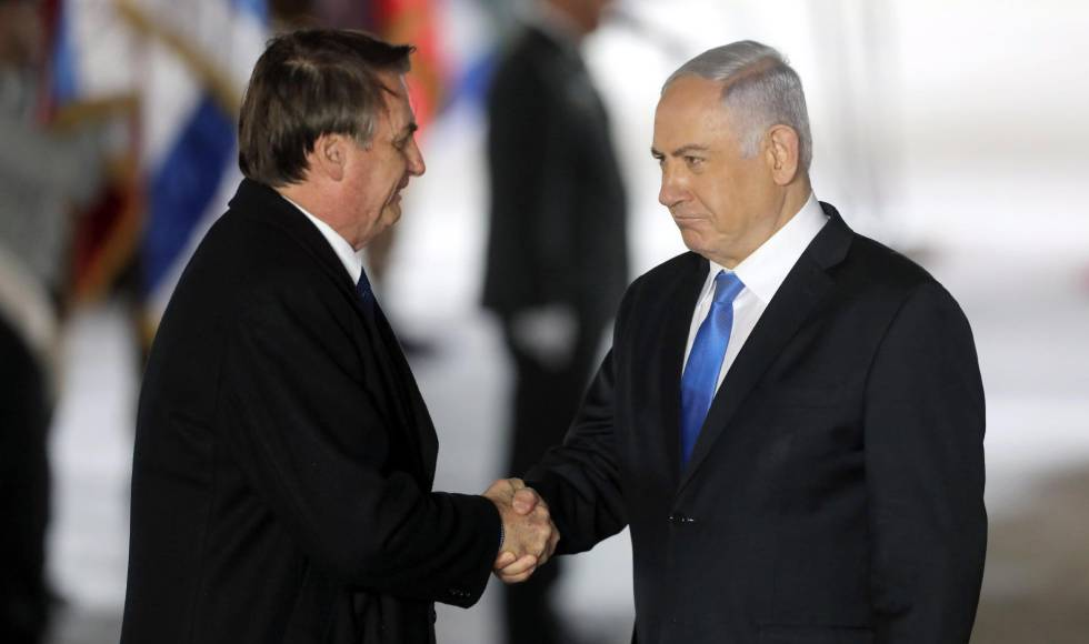 Bolsonaro e o primeiro ministro de Israel Benjamin Netanyahu neste domingo.
