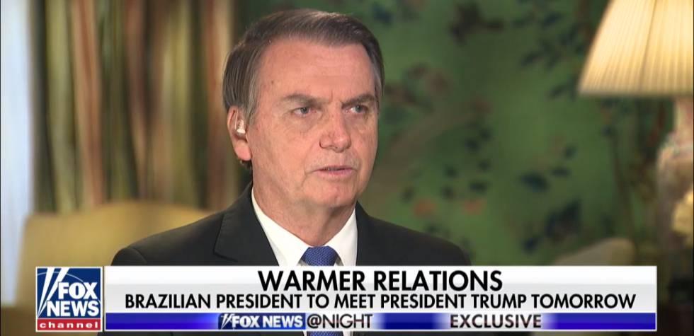 Presidente Jair Bolsonaro durante entrevista na Fox News.