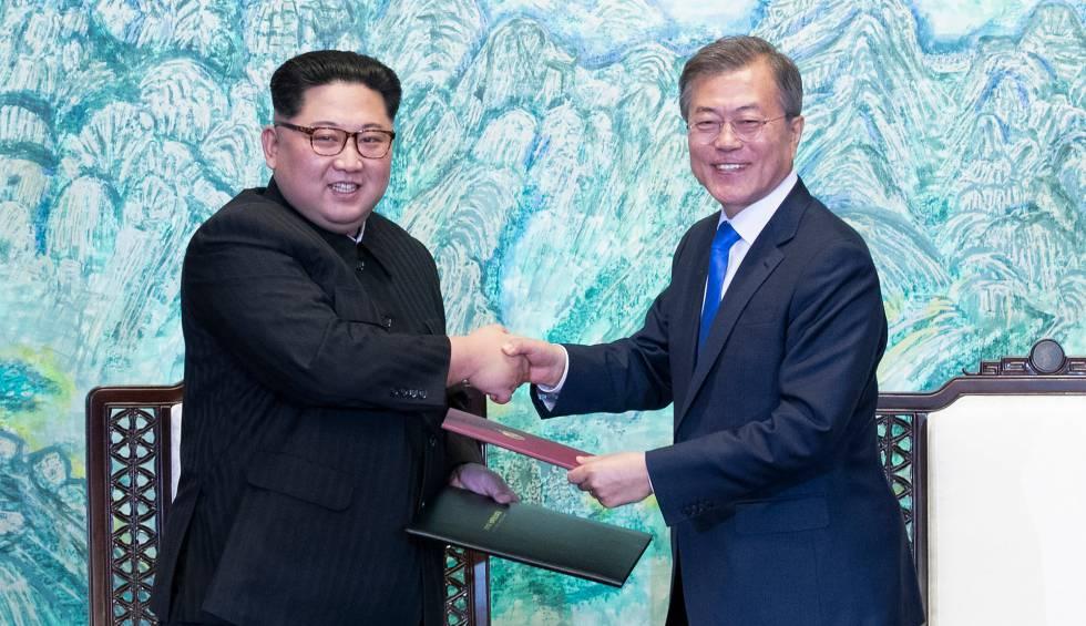 Kim Jong-um e Moon Jae-in, nesta sexta-feira.