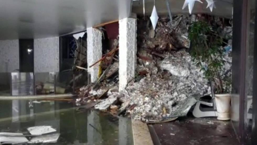 Parte interna do Hotel Rigopiano, em uma imagem de um vídeo da Guarda Financeira.