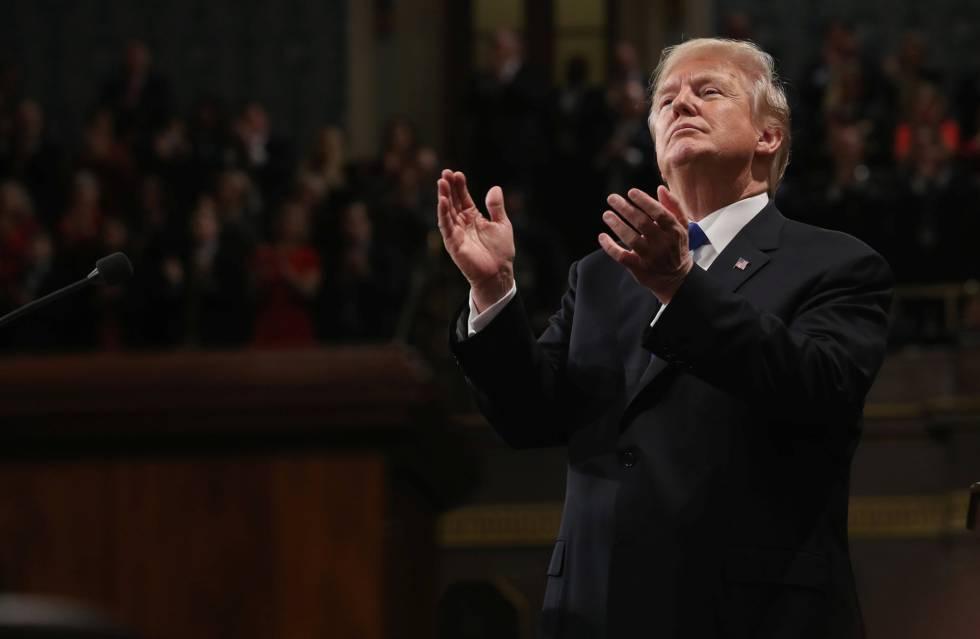 Donald Trump durante o discurso do estado da União.