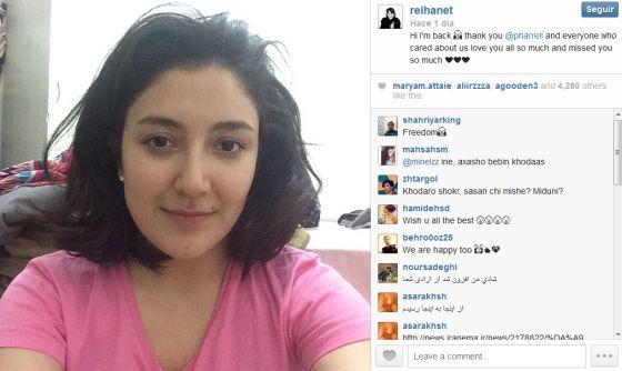 Reihanet Taravati, na foto do Instagram que confirmou sua libertação.