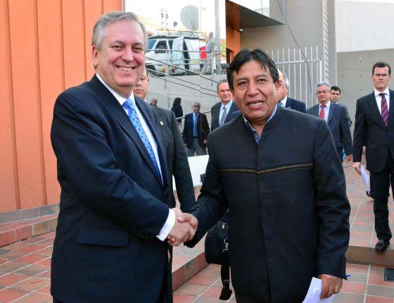 Os ministros de Relações Exteriores do Brasil e Bolívia.