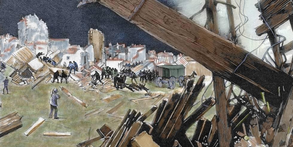 Gravura do século XIX mostra danos causados pelo terremoto de Lisboa em 1755