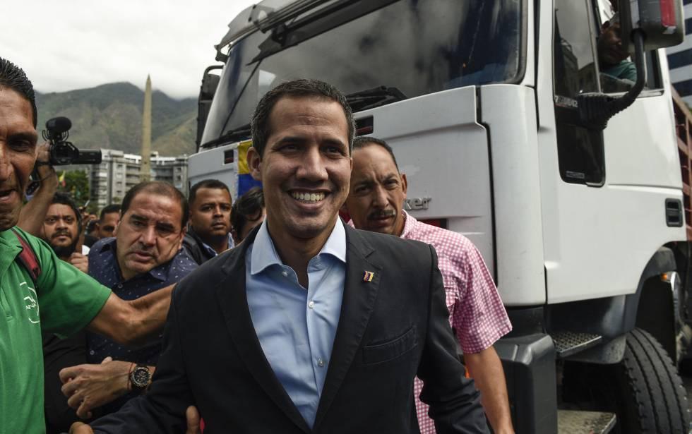 Juan Guaidó em uma manifestação de caminhoneiros nesta quinta-feira.