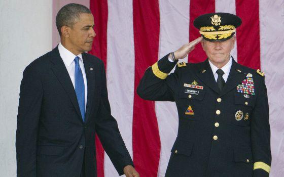 Obama e o chefe do Estado-Maior Conjunto, Martin Dempsey.