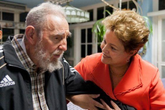 Dilma Rousseff e Fidel Castro ontem em Havana, Cuba.