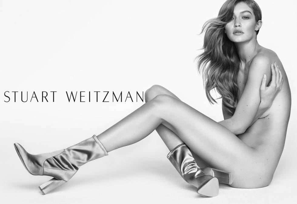 Gigi Hadid nua na mais recente campanha da Stuart Weitzman.
