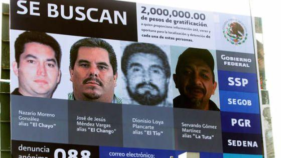 Cartaz con quatro narcotraficantes em Michoacán. Nazario Moreno é o primeiro à esquerda.