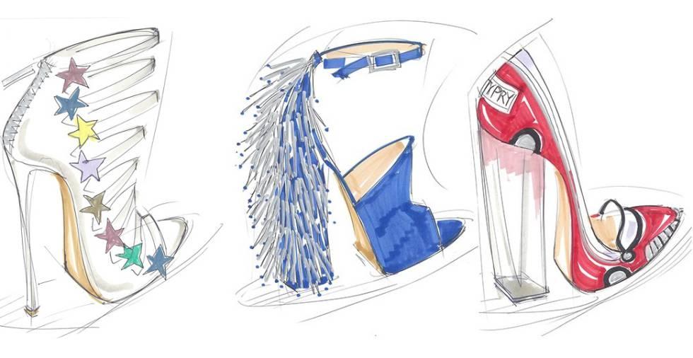 Esboços da coleção de sapatos de Katy Perry.