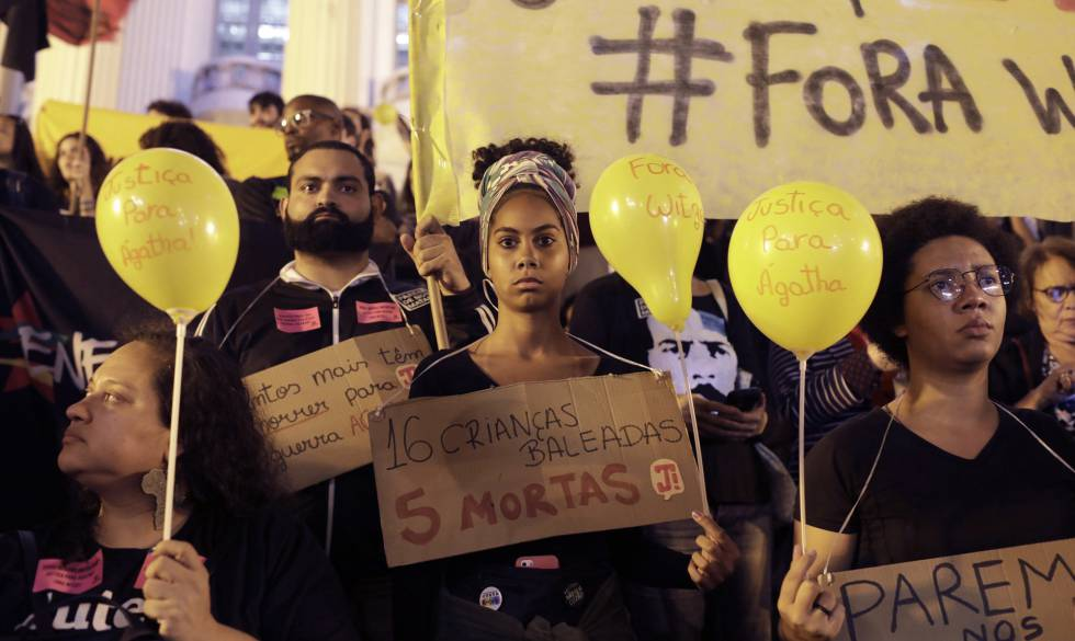 Protesto no Rio de Janeiro após a morte de Ágatha Félix