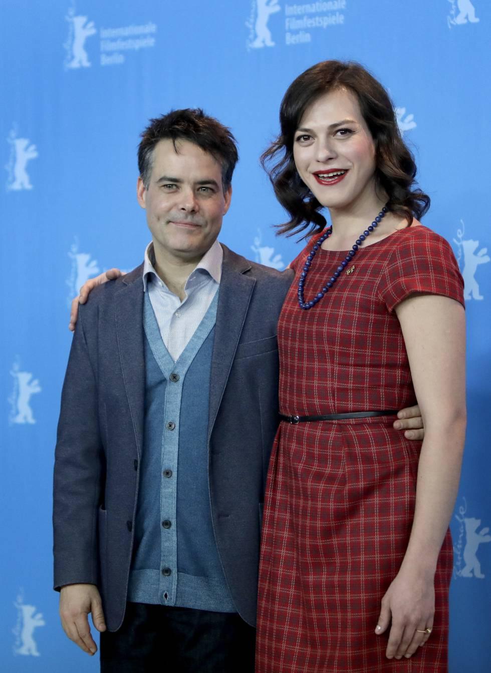 Sebastián Lelio e Daniela Vega, na apresentação de 'Uma Mulher Fantástica' em Berlim.