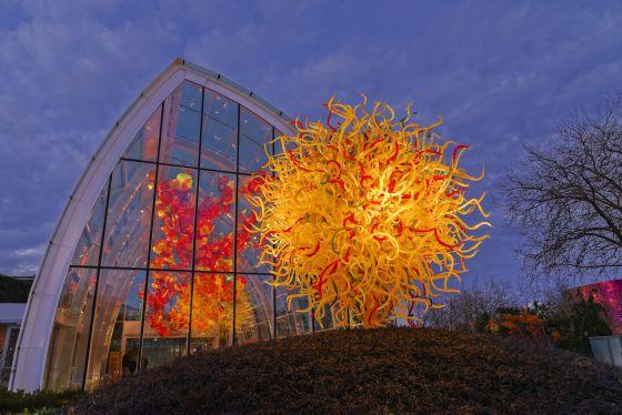 A Casa de Vidro (Glasshourse) e obras de Dale Chihuly em Seattle (Estados Unidos)