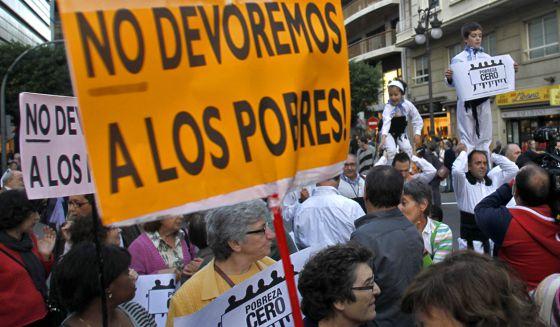 Manifestação contra a pobreza, em Valência.
