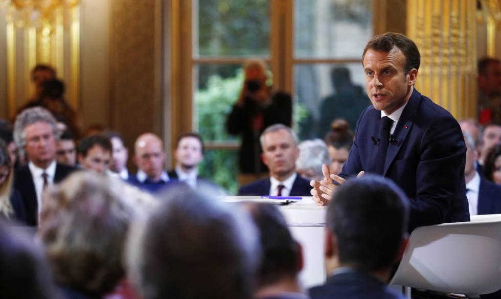 O presidente francês, Emmanuel Macron, em um ato no Palácio do Eliseu, nesta quinta-feira.