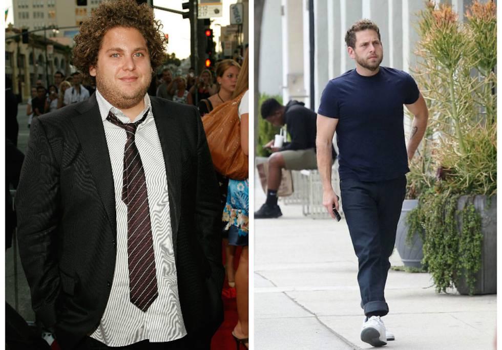 À esquerda, Jonah Hill na apresentação de 'Superbad' em 2007. À direita, o ator passeando por Los Angeles em maio passado.