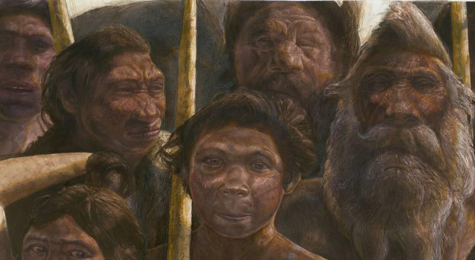 Representação de um grupo de hominídeos na Sima de los Huesos, no sítio arqueológico espanhol de Atapuerca.