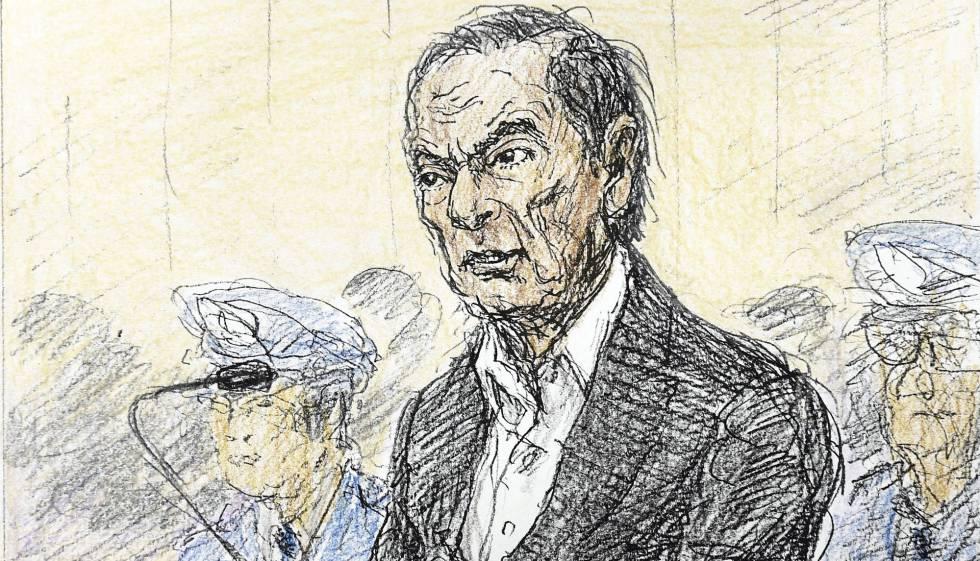 Carlos Ghosn, em ilustração feita durante sua presença no tribunal.