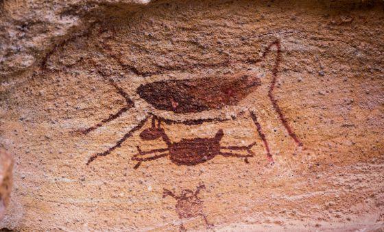 Pintura rupestre que é símbolo do Parque Nacional da Serra da Capivara, no Piauí, nordeste do país.