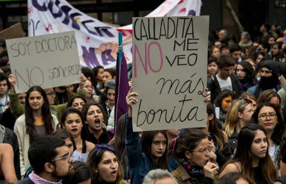 Estudantes chilenas em um dos protestos.