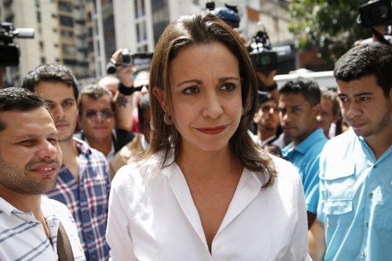 María Corina Machado, na quinta-feira em Caracas.