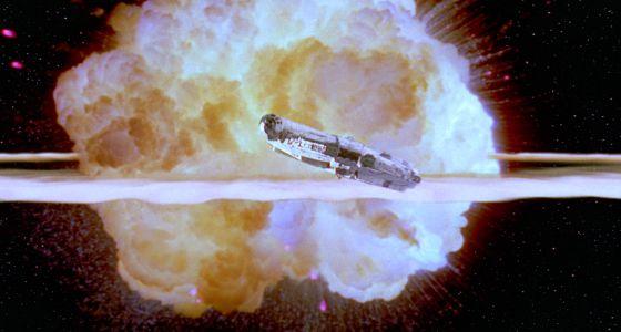 Imagem chave de O retorno de Jedi: a explosão da Estrela da morte.