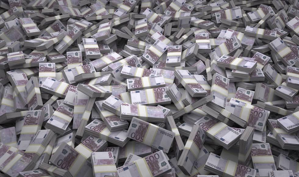 Maços de notas de 500 euros.