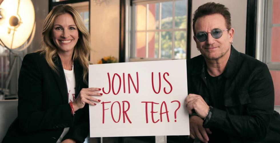 A atriz Julia Roberts e o cantor Bono, em um projeto solidário da Omaze.