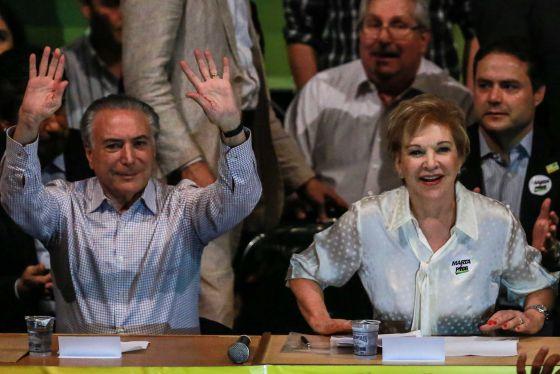 Marta e Temer neste sábado em São Paulo.