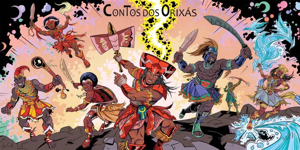 Ilustração de 'Contos dos Orixás', de Hugo Canuto.