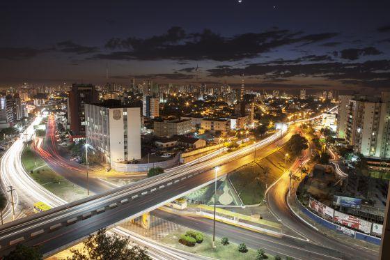 Vista aérea de Cuiabá, no Mato Grosso.