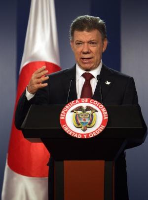 O presidente colombiano, Juan Manuel Santos, em um comparecimento nesta terça-feira.
