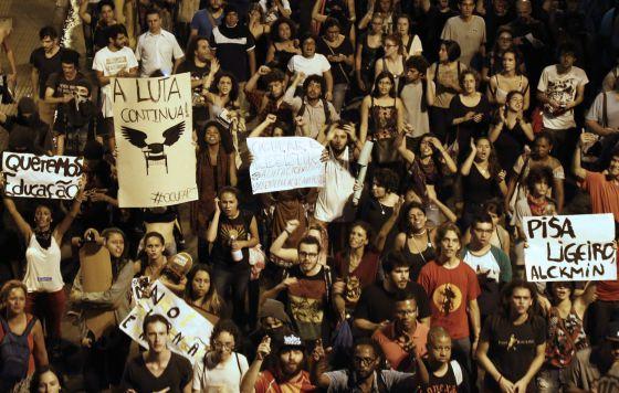 Manifestação dos estudantes em SP, nesta quarta.
