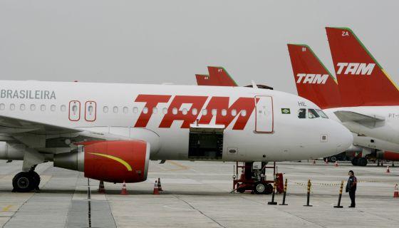 Um avião da linha aérea brasileira TAM