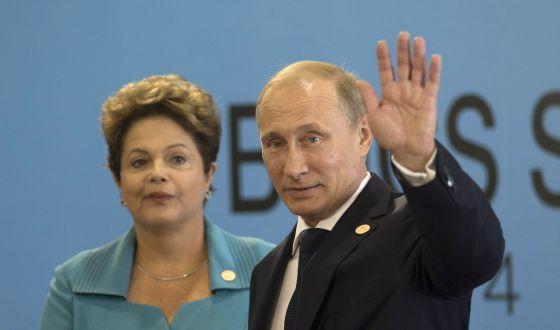 Putin e Rousseff durante a cúpula dos BRICS.