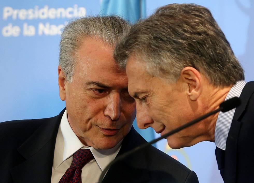 Michel Temer e Mauricio Macri, nesta segunda-feira.