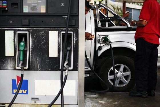 Uma estaci?ervicio de gasolina em Caracas (Venezuela).
