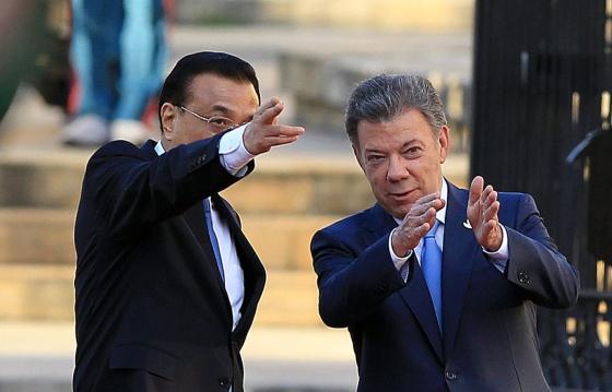 Juan Manuel Santos e o primeiro-ministro chinês Li Keqiang.