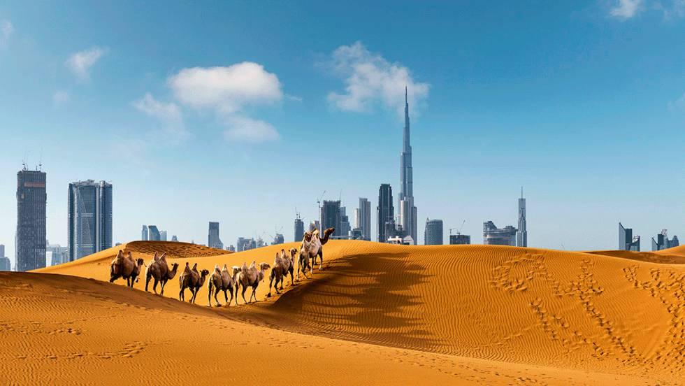 Burj Khalifa, o mais alto dos arranha-céus, destaca-se no horizonte da cidade de Dubai, nos Emirados Árabes Unidos.
