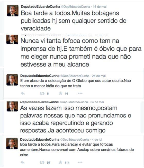 Montagem com cinco tuites de Cunha.