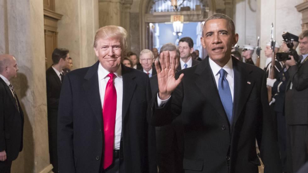 Obama e Trump em Washington, durante a posse do atual presidente norte-americano, em 20 de janeiro de 2017