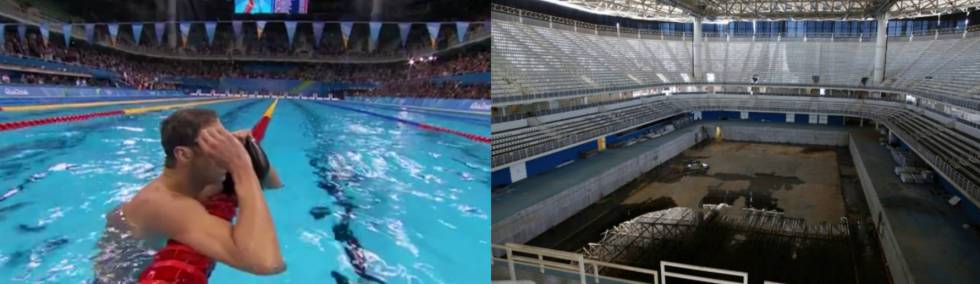 Montagem com Phelps nos Jogos e o parque aquático no início do mês.