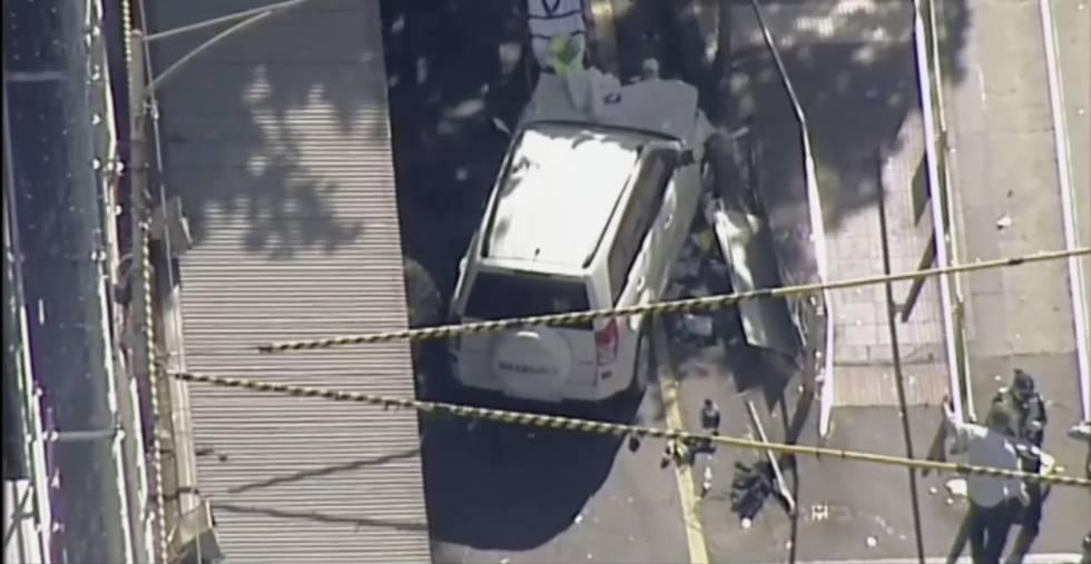 O veículo que atropelou os pedestres em Melbourne.