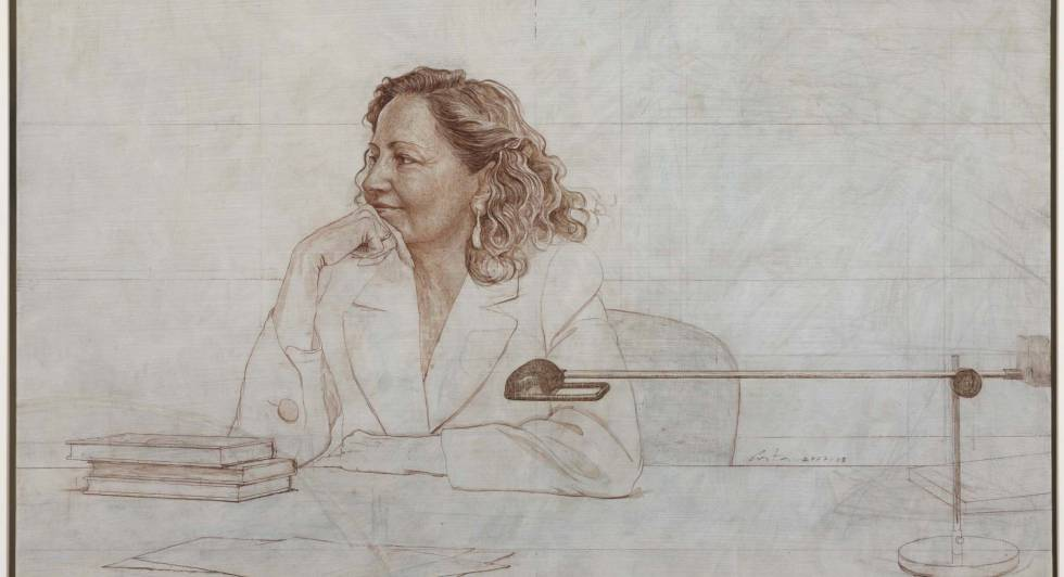 Isabel Polanco em um retrato do pintor Hernán Cortés.