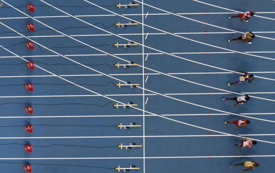 Prova de 100 metros rasos no Mundial de Moscou, em 2013